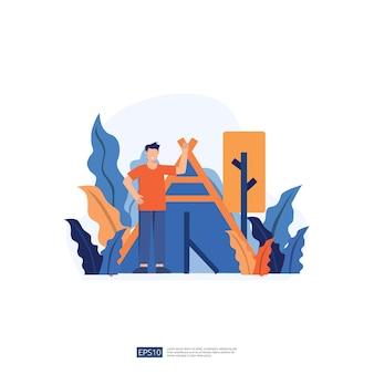 Ilustração de férias de mochileiro e acampamento sem personagem de jovem rosto. pessoas do sexo masculino em pé com gesticulando. ilustração em vetor estilo simples isolado