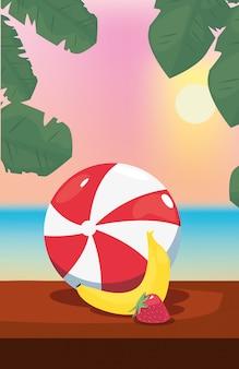 Ilustração de férias de verão com banana, bola inflável e morangos, vista para o mar
