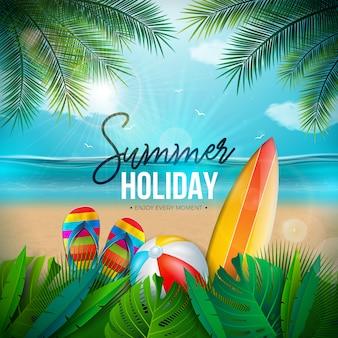 Ilustração de férias de verão com bola de praia e paisagem do oceano