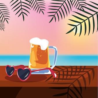 Ilustração de férias de verão com cerveja, óculos de sol e vista para o mar