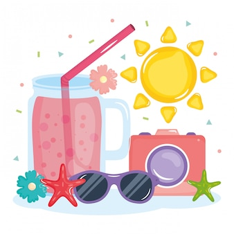 Ilustração de férias de verão com coquetel e elementos