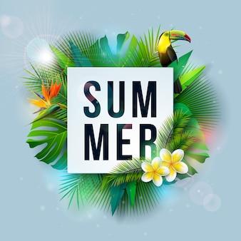 Ilustração de férias de verão com flor e folhas de palmeira tropicais