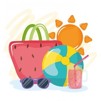 Ilustração de férias de verão com saco de mão e elementos