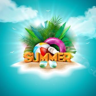 Ilustração de férias de verão vetor com letra de tipografia 3d