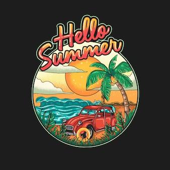 Ilustração de férias em uma bela praia tropical