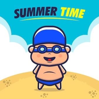 Ilustração de férias na praia para crianças felizes