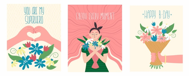 Ilustração de férias vintage com citação de texto. meninas, flores, mãos em forma de coração e letras de texto romântico.