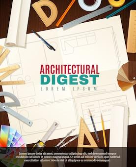 Ilustração de ferramentas de arquiteto de construção