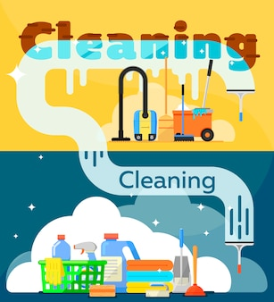 Ilustração de ferramentas de limpeza