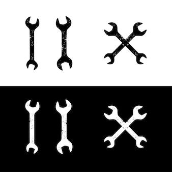 Ilustração de ferramentas de manutenção de chave inglesa danificadas