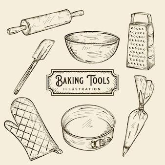 Ilustração de ferramentas de panificação