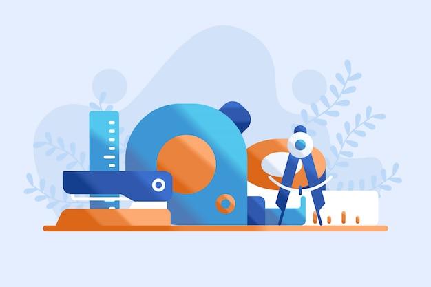 Ilustração de ferramentas de papelaria