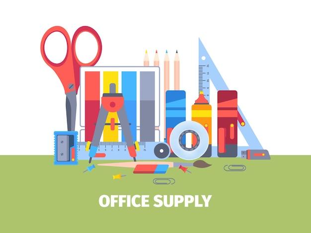 Ilustração de ferramentas e acessórios de papelaria