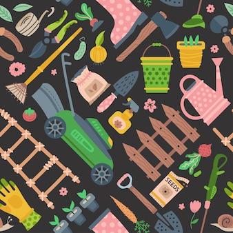 Ilustração de ferramentas e materiais de jardim padrão sem emenda