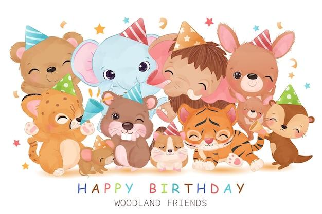Ilustração de festa de aniversário de animais fofos e alegres da floresta