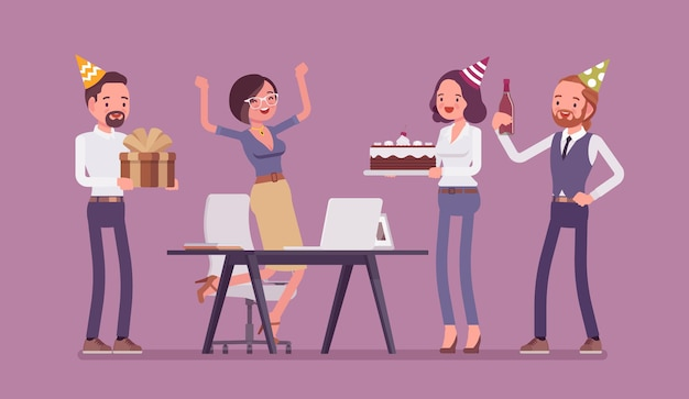 Ilustração de festa de aniversário no escritório