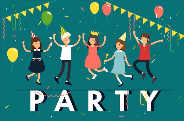 Ilustração de festa de crianças. personagem de crianças engraçadas pulando com chapéus de festa, confetes, balões. amigos comemorando a festa.