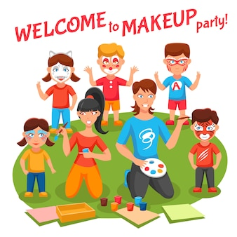 Ilustração de festa de maquiagem