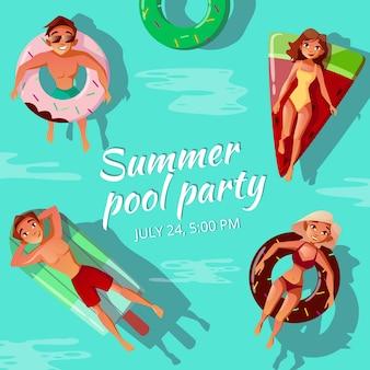 Ilustração de festa de piscina de verão