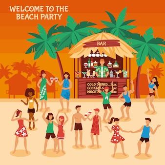 Ilustração de festa de praia