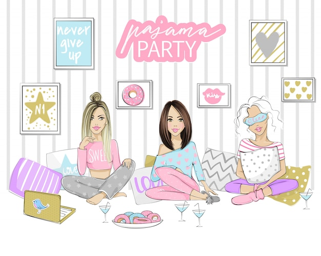 Ilustração de festa do pijama com belas moças, meninas, adolescentes. cartaz, capa ou banner para um evento divertido.