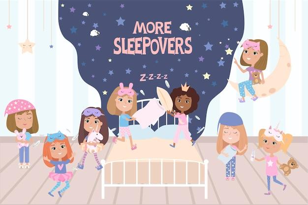 Ilustração de festa do pijama com personagens divertidos de meninas.