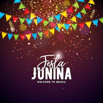 Ilustração de festa junina com bandeiras do partido e tipografia