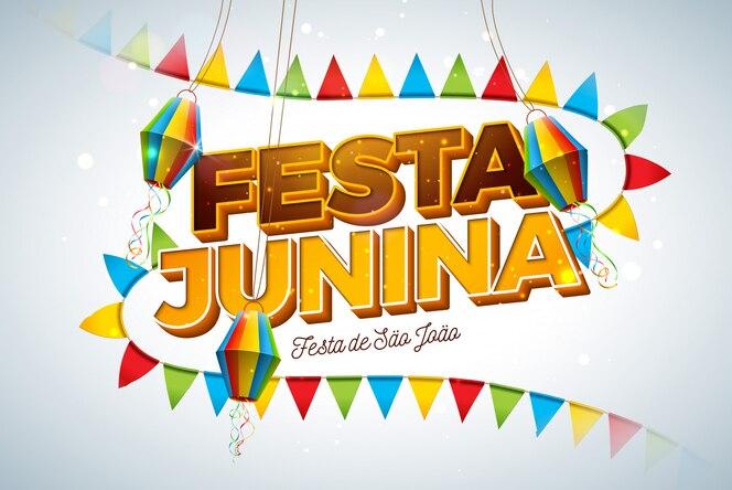 Ilustração de festa junina com bandeiras do partido, lanterna de papel e letra 3d na luz de fundo. brasil junho festival design