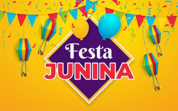 Ilustração de festa junina com bandeirinhas de festa, lanterna de papel e letra 3d