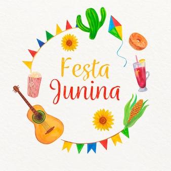 Ilustração de festa junina com conjunto de elementos