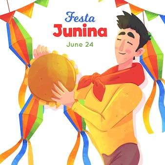 Ilustração de festa junina com homem