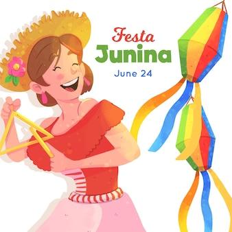 Ilustração de festa junina com mulher