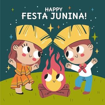 Ilustração de festa junina desenhada à mão