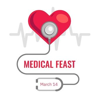 Ilustração de festa médica com coração e estetoscópio