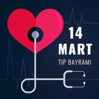 Ilustração de festa médica com estetoscópio e coração