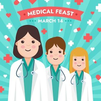 Ilustração de festa médica com médicos usando estetoscópios