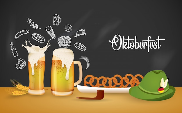 Ilustração de festa oktoberfest com cerveja fresca