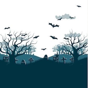 Ilustração de festa tradicional no feriado de halloween com duas árvores mortas, morcegos voando sobre túmulos e cruzes de cemitério, nuvens cinzentas planas