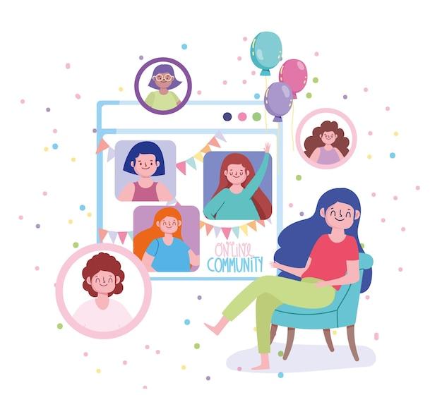 Ilustração de festa virtual, festa de aniversário de mulher em modo de quarentena