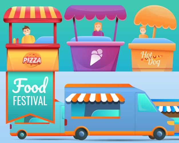 Ilustração de festival de comida definida no estilo cartoon