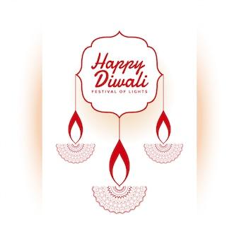 Ilustração de festival indiano feliz diwali branco