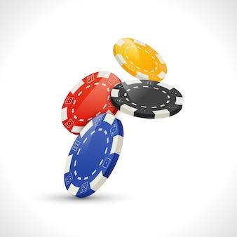 Ilustração de fichas de pôquer de jogo caindo