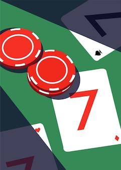 Ilustração de fichas de pôquer e cartas de jogar