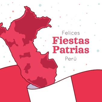 Ilustração de fiestas patrias de peru desenhada à mão