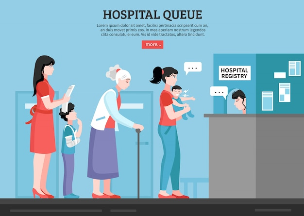 Ilustração de fila de hospital
