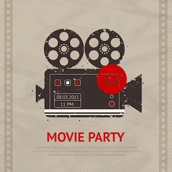 Ilustração de filme retrô com modelo de texto