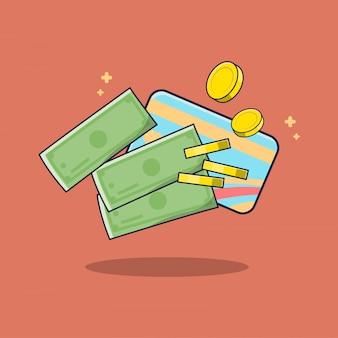 Ilustração de finanças de dinheiro e cartão de crédito