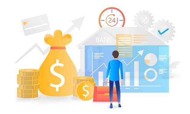Ilustração de finanças e bancos modernos em estilo simples