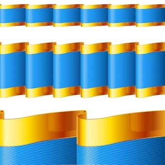Ilustração de fitas azuis com bordas douradas
