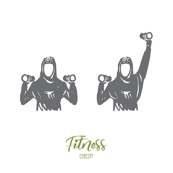Ilustração de fitness desenhada à mão